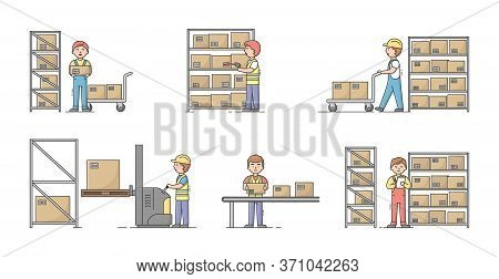 Warehouse Concept. Set Of Workers At Work On Warehouse. Characters Sort, Pack And Shipment Cargo Usi