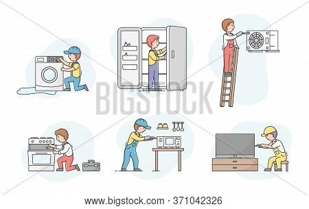Concept Of Electric Appliances Service. Set Of Professional Workers Repairmen In Uniform, Fixing Dev