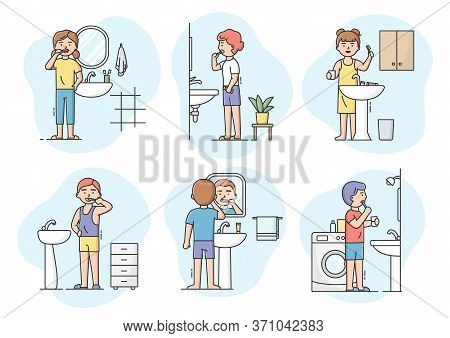 Dentistry And Health Care Concept. Set Of Characters Boys And Girls Cleaning Teeth With Toothbrush I