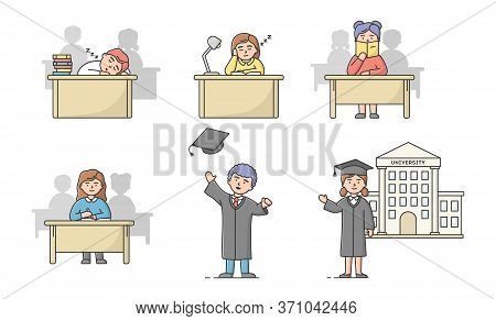 Graduation Of High School, University Courses Concept. Set Of Students Teens In Different Situations