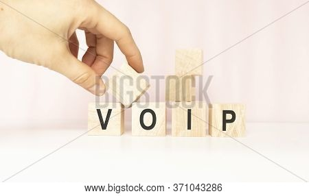 Text Of Voip On Cubes On White Background