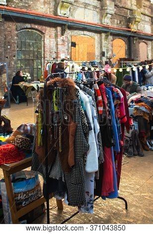 Lviv, Ukraine - February 16, 2020 : Garage Sale In Lem Station, Tlum And Kram. Hipster Vintage Cloth