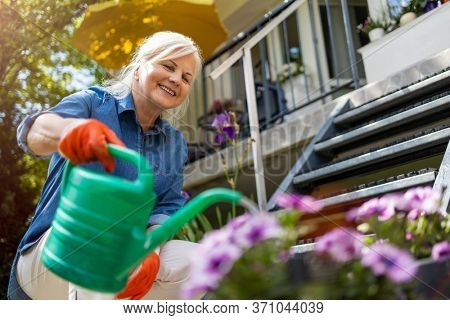 Senior woman watering plants in her garden