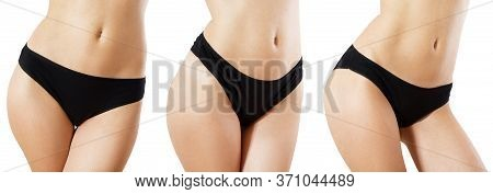 Set Female Black Panties Front View, Sexy Woman Body Isolated Close Up, Panties Mockup Front Rear, F