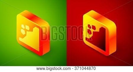 Isometric Landslide Icon Isolated On Green And Red Background. Stones Fall From The Rock. Boulders R