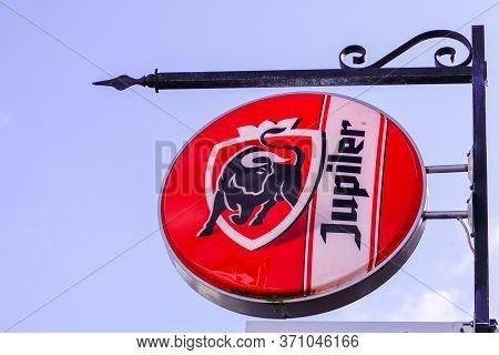 Bordeaux , Aquitaine / France - 03 11 2020 : Jupiler Logo Sign Beer Front Of Pub Local Bar Restauran