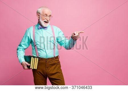 Photo Of Funny Grandpa Professor Books University College Direct Finger Empty Space Choose Student F