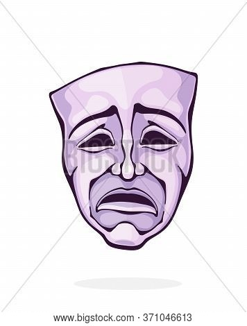Theatrical Drama Mask. Vintage Opera Mask For Tragedy Actor. Face Expresses Negative Emotion. Film A