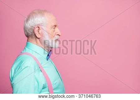 Profile Photo Of Attractive Grandpa Looking Empty Space Concentrated Focused Not Smiling Serious Bus