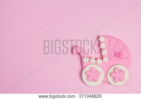 It's A Girl Pink Card. Newborn Background. Baby Shower Invitation. Baby Announcement. Fondant Baby S