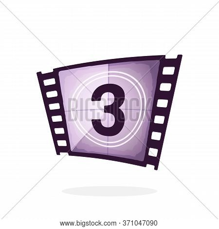 Part Of Film Strip With Countdown Timer. Retro Frame Of Filmstrip. Vintage Movie Timer For Cinema. F