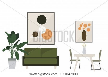 Apartment Design. Vector Stock Apartment In Flat Style. Nice Interior. Modern Apartment, Table Chair