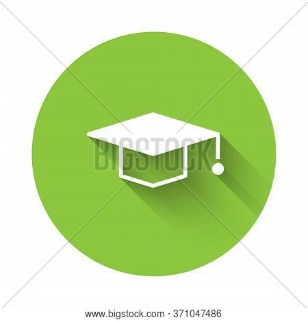 White Graduation Cap Icon Isolated With Long Shadow. Graduation Hat With Tassel Icon. Green Circle B