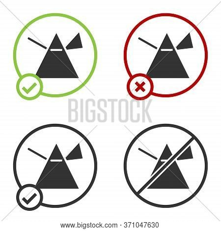 Black Light Rays In Prism Icon Isolated On White Background. Ray Rainbow Spectrum Dispersion Optical