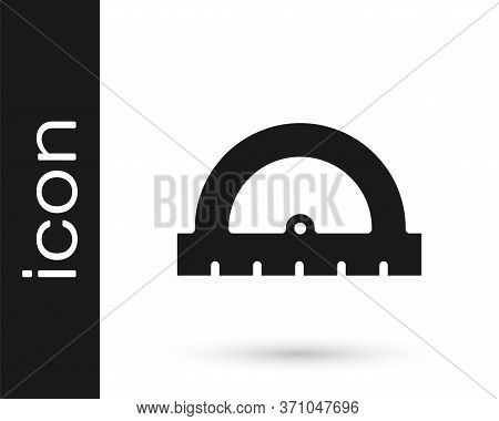 Grey Protractor Grid For Measuring Degrees Icon Isolated On White Background. Tilt Angle Meter. Meas