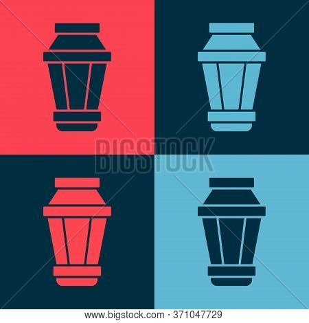 Pop Art Garden Light Lamp Icon Isolated On Color Background. Solar Powered Lamp. Lantern. Street Lam