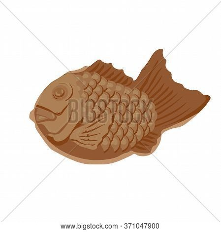 Vector Stock Illustration Of Japanese Taiyaki. Korean Dessert Fish Pie With Fillings. Asian Dessert.