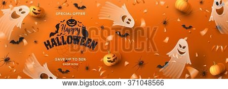 Happy Halloween Sale Horizontal Banner. Holiday Promo Banner With Spooky Flying Ghosts, Black Spider
