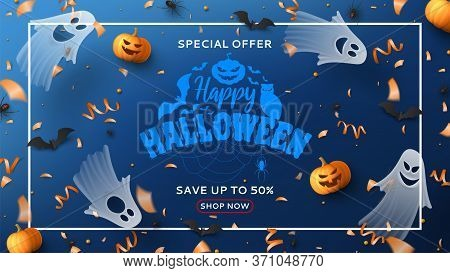 Halloween Sale Horizontal Banner. Holiday Promo Banner With Spooky Flying Ghosts, Black Spiders And