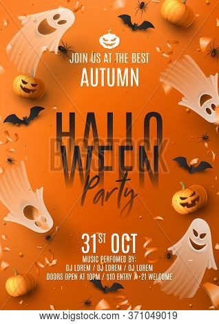Happy Halloween Party Poster. Holiday Promo Banner With Spooky Flying Ghosts, Black Spiders And Bats