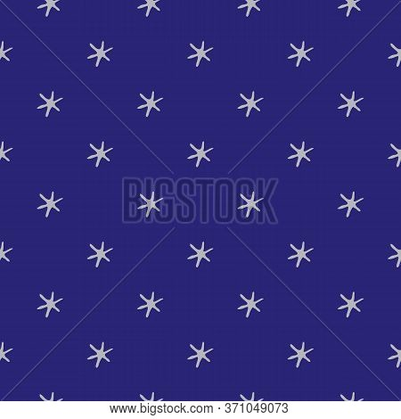 Stars In Space Vector Seamless Pattern Background. Silver Childlike Drawing Of Celestial Planets On