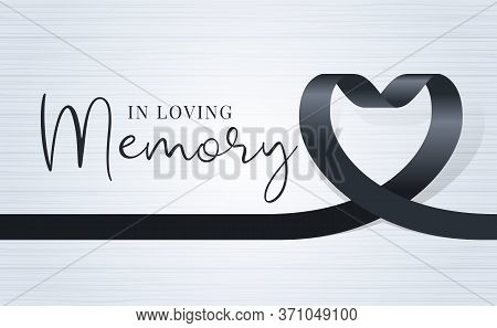 In Loving Memory Text And Black Heart Ribbon Sign On Soft Light Wood Texture Background Vector Desig