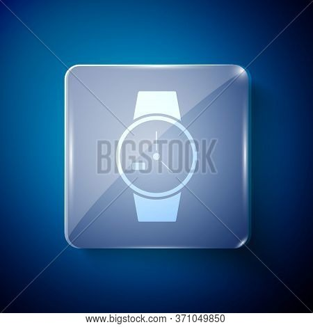 White Wrist Watch Icon Isolated On Blue Background. Wristwatch Icon. Square Glass Panels. Vector