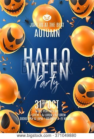 Happy Halloween Party Flyer. Holiday Promo Banner With Spooky Balloons, Black Spiders, Orange Serpen
