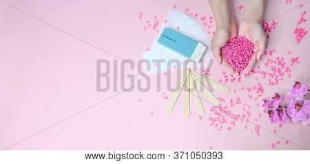 Set Of Depilation And Beauty On Pink Background Concept - Sugar Paste Or Hair Removal Waxing Melted