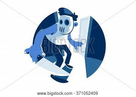 Dude Wearing Hocke Mask Vector Illustration. Thief