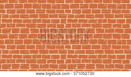 Brick White Wall Seamless Pattern, Old Rectangle Bricks For Poster House Facade Decoration. Rough Vi