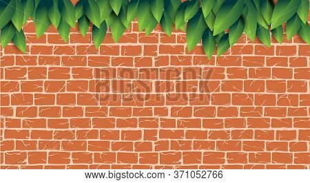 Red Brick Wall With Green Leaves Pattern For Tool Shop, Diy Store, Garden Center Or Plant Owner Prom
