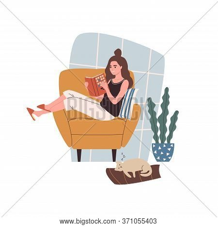 Woman Reading Book. Woman With Literature In Hands Sitting On Cozy Armchair At Home With Cat Sleepin