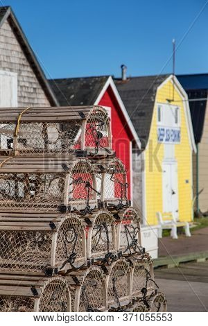 Lobster barns and lobster pots of New London, Prince Edward Island, Canada