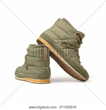 Puffy Boots Or Lace-up Ankle Boots. Comfortable Khaki Green Color Trekking Shoes With Lacing For Win