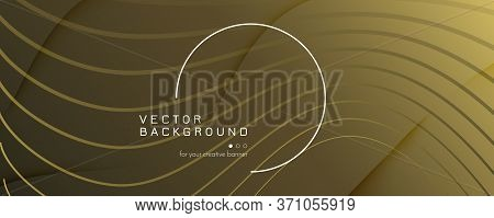 Abstract Vector Curve. Yellow Dynamic Movement. 3d Flow Shapes. Business Brochure. Gold Abstract Vec