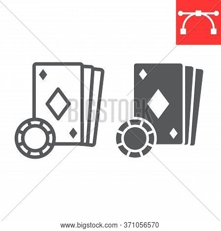 Online Casino Line And Glyph Icon, Video Games And Gambling, Online Poker Sign Vector Graphics, Edit