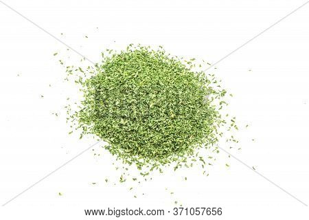 Heap Of Dried Parsley Leaf Isolated On  Background. Top View