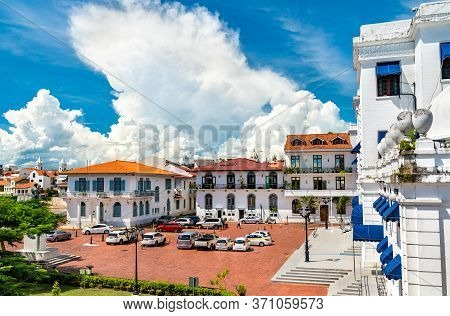 Traditional Spanish Colonial Buildings In Casco Viejo, The Historic District Of Panama City In Centr