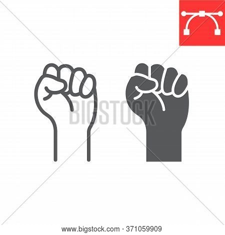 Lgbt Power Line And Glyph Icon, Lgbt And Pride, Lgbt Protest Sign Vector Graphics, Editable Stroke L