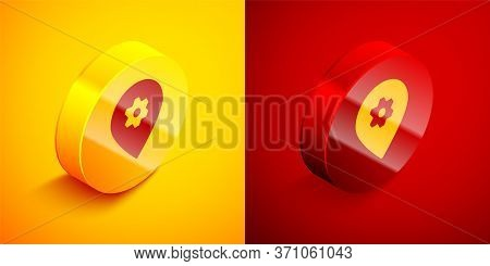 Isometric Location With Car Service Icon Isolated On Orange And Red Background. Auto Mechanic Servic
