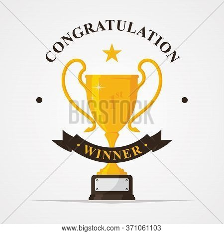Trophy And Awards Golden Badges And Labels Collection With Congratulation Letter. Winner Solid Troph