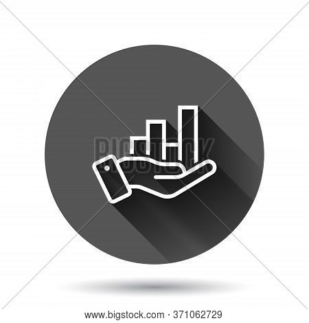 Growth Revenue Icon In Flat Style. Diagram With Hand Vector Illustration On Black Round Background W