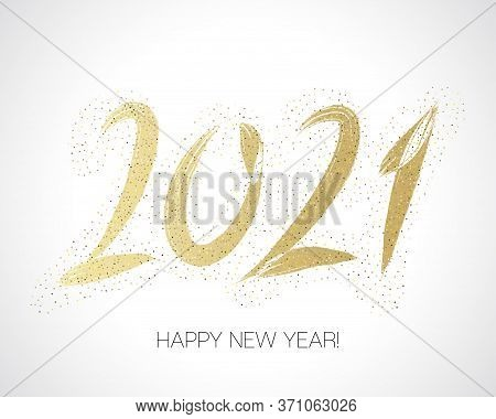 2021 Gold Brush Stroke Banner. Isolated Brush Shape 2021. Stylish Happy New Year Typography. Happy N