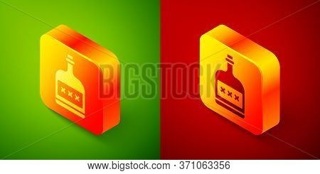 Isometric Alcohol Drink Rum Bottle Icon Isolated On Green And Red Background. Square Button. Vector