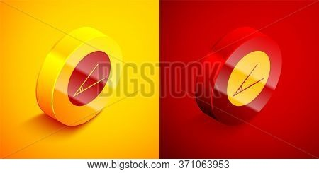 Isometric Acute Angle Of 45 Degrees Icon Isolated On Orange And Red Background. Circle Button. Vecto