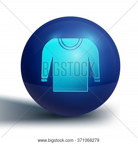 Blue Sweater Icon Isolated On White Background. Pullover Icon. Blue Circle Button. Vector Illustrati