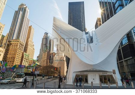 New York,usa-march 9,2020:street Image At The One World Trade Center Transportation Hub,(westfield W