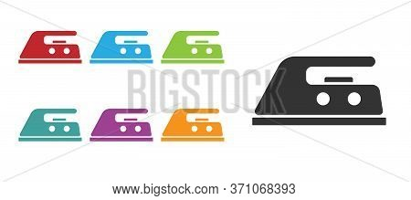 Black Electric Iron Icon Isolated On White Background. Steam Iron. Set Icons Colorful. Vector Illust