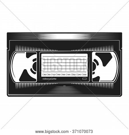 Videocassette. Retro Vhs Videotape From 90s Isolated On A White Background. Old Record Video Recorde
